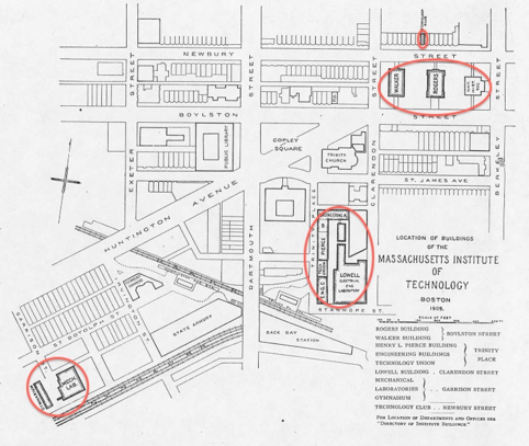 A map of MIT in 1905, back when the campus was still in Boston. The Lowell building (home to Course 6) is circled.